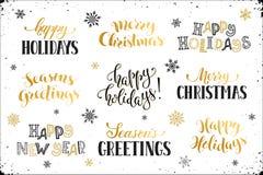 Frohe Feiertage Phrasen Stockbilder