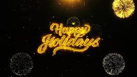 Frohe Feiertage schlang sich Wunschgrußkarte, Einladung, Feierfeuerwerk lizenzfreie abbildung