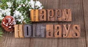 Frohe Feiertage Text stockfotos