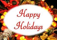 Frohe Feiertage Text. Stockfoto