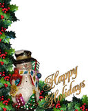 Frohe Feiertage Text des Schneemanns 3D Stockbild