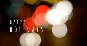 Frohe Feiertage Text und bunte Lichter 4k stock video footage