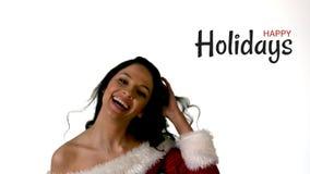 Frohe Feiertage Text und Sankt-Frau stock video footage