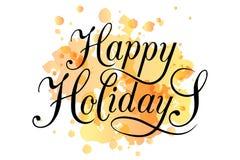 Frohe Feiertage Typografie für Weihnachts-/des neuen Jahresgruß Karte Stockfotos