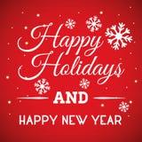 Frohe Feiertage und Karte der frohen Weihnachten Stockfotografie