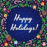 Frohe Feiertage Vektorblaukarte Lizenzfreies Stockbild