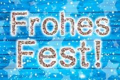 Frohe Feiertage: Weihnachtsgrußkarte mit deutschem Text einer Co Lizenzfreie Stockfotos