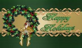 Frohe Feiertage WeihnachtsWreathrand Lizenzfreie Stockfotografie
