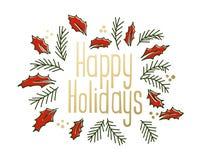 Frohe Feiertage Weinlesegrußkarte Lizenzfreies Stockbild