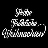 Frohe Fröhliche Weihnachten lettering in german. Frohe Fröhliche Weihnachten lettering in german, Handmade typographic lettering. Calligraphic Vector Royalty Free Stock Photo