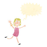 frohe Frau der Retro- Karikatur Lizenzfreie Stockfotos