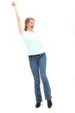 Frohe Frau mit dem Arm hob an Stockfotografie
