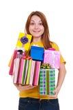 Frohe Frau mit Geschenken Stockbild