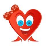Frohe Frauenzahl rotes Herz mit blauen Augen, großes Lächeln mit den weißen Zähnen und rote Zunge mit roten Schuhen, mit rotem Bo lizenzfreie abbildung