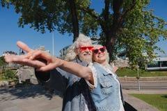 Frohe gealterte Paare, die glücklich sich fühlen lizenzfreies stockbild
