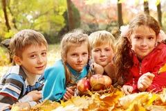 Frohe Kinder, die auf herbstlichen Blättern liegen Stockbilder