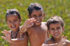 Frohe Kinder in Indien Stockbild