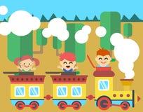 Frohe Kinder reiten im Zug Lizenzfreies Stockfoto