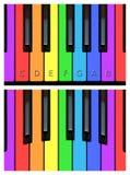 Frohe Klaviertasten, keyborad in den Regenbogenfarben stock abbildung