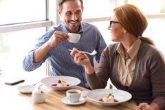 Frohe Kollegen, die zu Mittag essen Lizenzfreies Stockfoto