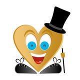 Frohe Mannzahl Goldherz, blaue Augen, großes Lächeln mit den weißen Zähnen und rote Zunge mit schwarzen Schuhen und Spitzee mit S vektor abbildung