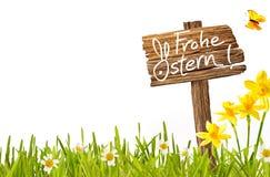 Frohe Ostern德国人复活节贺卡 库存照片