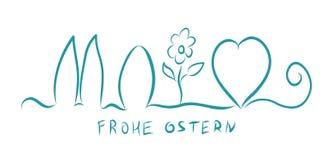 frohe ostern Ευτυχές Πάσχα στα γερμανικά Διανυσματικό έμβλημα απεικόνισης Αυγό, καρδιά, λαγουδάκι ελεύθερη απεικόνιση δικαιώματος