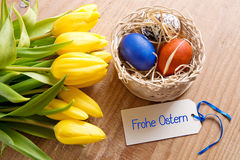 Frohe Ostern card and Easter basket. Royalty Free Stock Photos