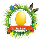 Frohe Ostern Eggs Hare Ears Emblem Royalty Free Stock Images