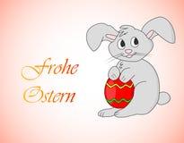 Frohe Ostern - fröhliche Ostern auf Deutsch Osterhase mit Eivektor Lizenzfreie Stockbilder