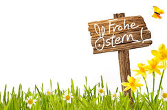 Frohe Ostern German Easter greeting card stock photo