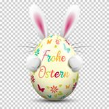 Frohe Ostern happy easter egg painted colorful with Easter bunny on transparent background isolated vector stock illustration