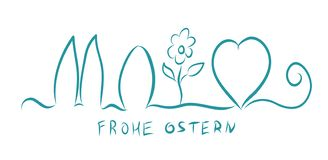 Frohe Ostern. Happy Easter on German. Vector illustration banner. Egg, heart, bunny. And flower royalty free illustration