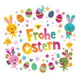Frohe Ostern Szczęśliwa wielkanoc w niemiec royalty ilustracja