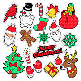 Frohe Weihnacht-Ausweise, Flecken, Aufkleber - Santa Claus, Schneemann, Schneeflocke, Weihnachtsbaum im Knall Art Comic Style Stockbilder