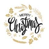 Frohe Weihnacht-Beschriftungs-Golddesign Auch im corel abgehobenen Betrag lizenzfreie abbildung