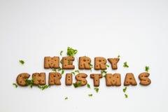 Frohe Weihnacht-Biskuite und Blätter Lizenzfreie Stockfotografie