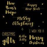 Frohe Weihnacht-Briefgestaltungs-Satz Stockbild