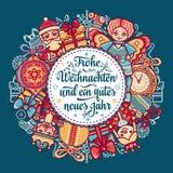 Frohe Weihnacht Congratulazioni di natale in Germania Fotografie Stock Libere da Diritti