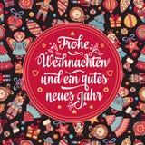 Frohe Weihnacht Congratulazioni di natale in Germania Immagine Stock