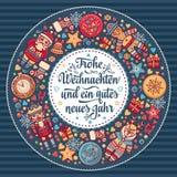 Frohe Weihnacht Congratulazioni di natale in Germania Immagini Stock