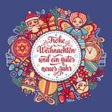 Frohe Weihnacht Congratulazioni di natale in Germania Fotografia Stock
