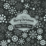 Frohe Weihnacht-Fahne auf nahtlosem Schneeflocken-Hintergrund Lizenzfreies Stockbild