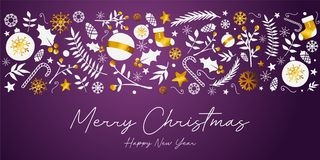 Frohe Weihnacht-Fahnen-goldene Verzierungs-Karte auf dunklem purpurrotem Backg lizenzfreie abbildung