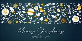 Frohe Weihnacht-Fahnen-goldene Verzierungs-Karte auf dunklem Teal Backgro lizenzfreie abbildung