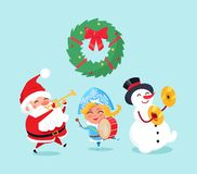 Frohe Weihnacht-Feier von Santa Claus Snowman vektor abbildung