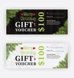 Frohe Weihnacht-Geschenkgutschein-Zertifikat-Schablonen-Design Lizenzfreies Stockbild