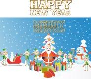 Frohe Weihnacht-glückliches neues Jahr Stockbilder