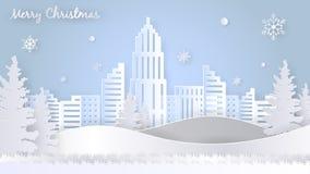 Frohe Weihnacht-Gruß-Design-Schablone, Papier Art Style Lizenzfreies Stockbild