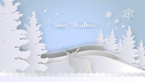 Frohe Weihnacht-Gruß-Design-Schablone, Papier Art Style Lizenzfreie Stockbilder